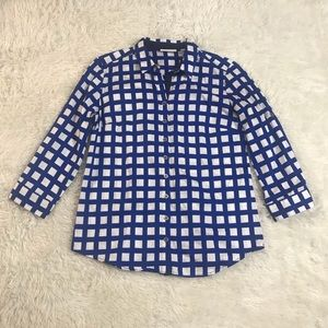 New York and Co Size xs blue and white top